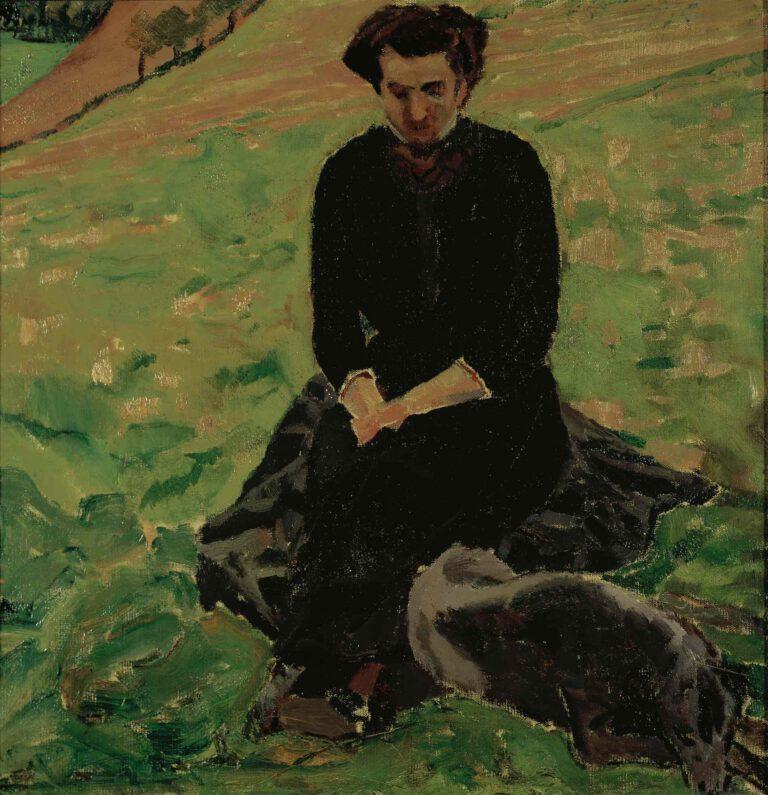 Sitzende Frau mit Hund im Grünen, 1910