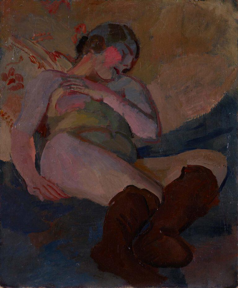 Liegender Akt mit braunen Strümpfen, 1913