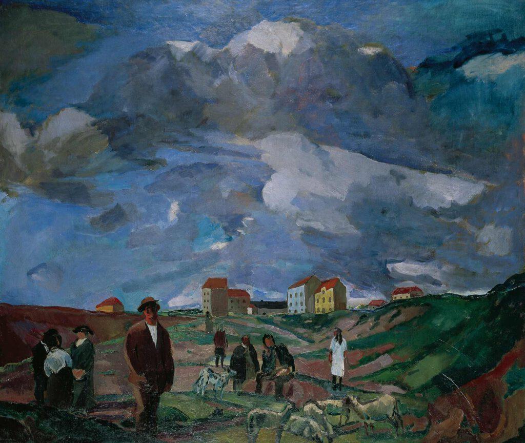 Vorstadthäuser mit Menschen und Schafherde, 1914